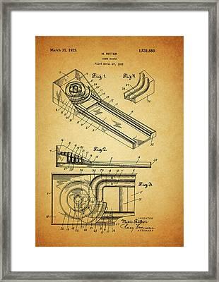 1925 Skee Ball Patent Framed Print