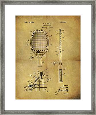 1925 Tennis Racket Patent Framed Print by Dan Sproul