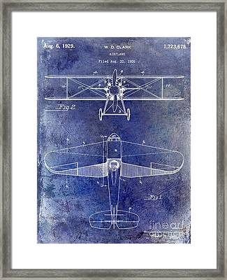 1929 Airplane Patent Blue Framed Print by Jon Neidert
