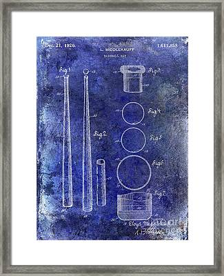 1926 Baseball Bat Patent Blue Framed Print by Jon Neidert