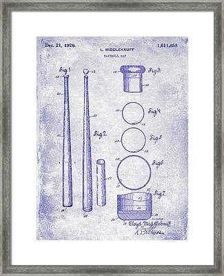 1926 Baseball Bat Patent Blueprint Framed Print