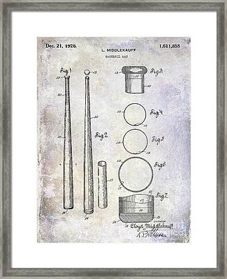 1926 Baseball Bat Patent Framed Print by Jon Neidert