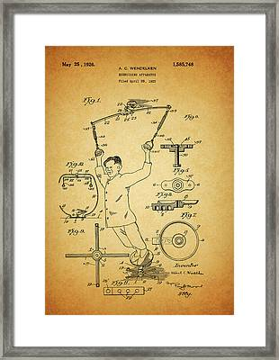 1926 Exercise Machine Patent Framed Print by Dan Sproul