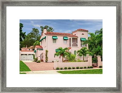 Framed Print featuring the photograph 1926 Florida Northern Italian Renaissance Style Home  -  1926noritalrennasfl172169 by Frank J Benz