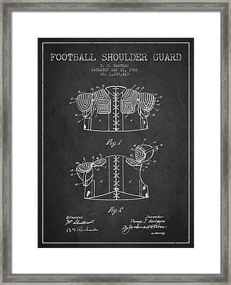 1926 Football Shoulder Guard Patent - Charcoal Framed Print
