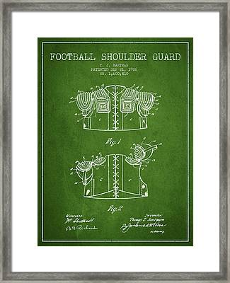 1926 Football Shoulder Guard Patent - Green Framed Print