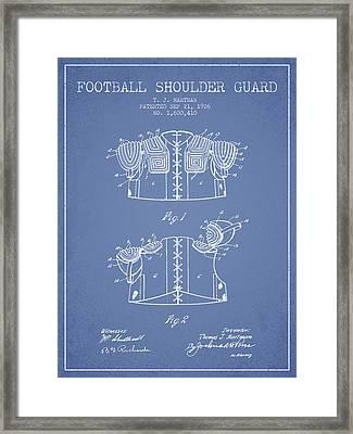 1926 Football Shoulder Guard Patent - Light Blue Framed Print