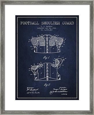 1926 Football Shoulder Guard Patent - Navy Blue Framed Print
