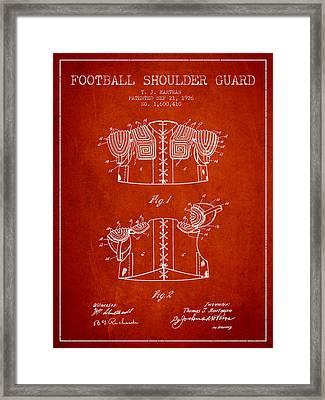 1926 Football Shoulder Guard Patent - Red Framed Print