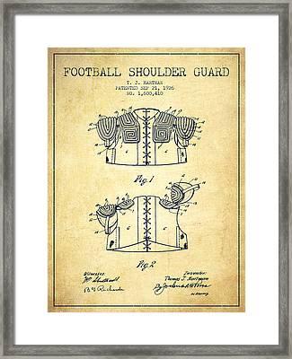 1926 Football Shoulder Guard Patent - Vintage Framed Print