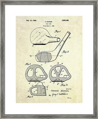 1926 Golf Club Patent Art Framed Print