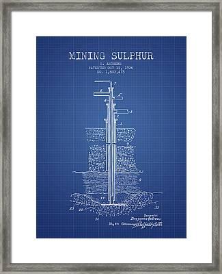 1926 Mining Sulphur Patent En37_bp Framed Print