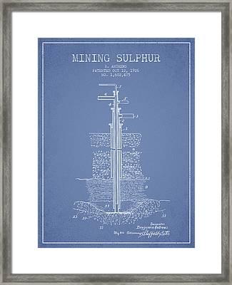 1926 Mining Sulphur Patent En37_lb Framed Print
