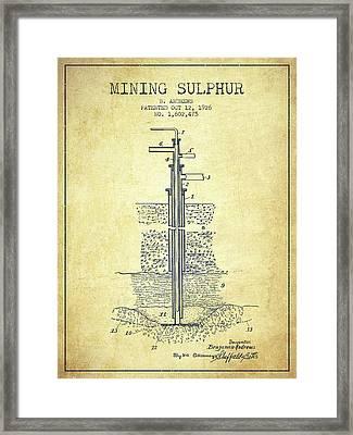 1926 Mining Sulphur Patent En37_vn Framed Print