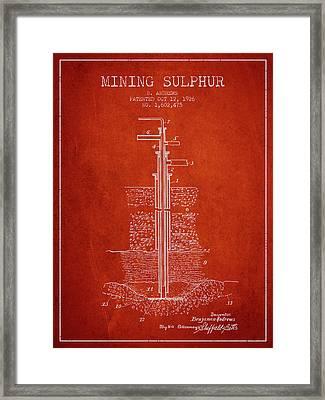 1926 Mining Sulphur Patent En37_vr Framed Print