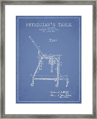 1926 Physicians Table Patent - Light Blue Framed Print by Aged Pixel