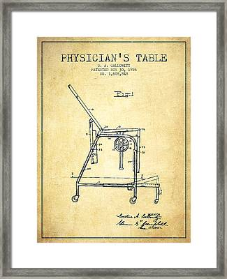 1926 Physicians Table Patent - Vintage Framed Print by Aged Pixel