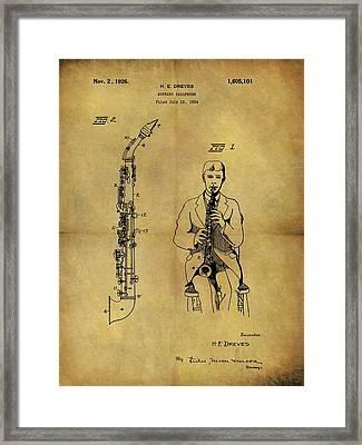 1926 Soprano Saxophone Patent Framed Print