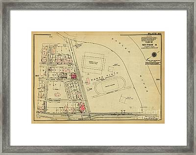 Framed Print featuring the photograph 1927 Baker Field Map  by Cole Thompson