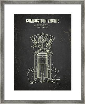 1927 Compustion Engine Patent - Dark Grunge Framed Print by Aged Pixel