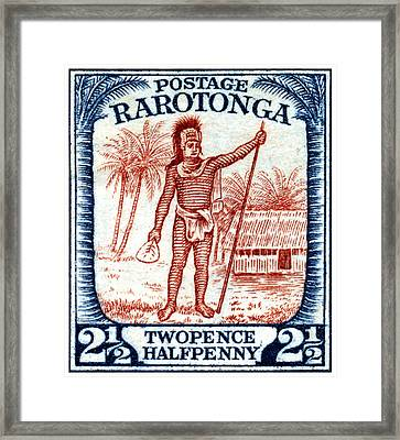 Framed Print featuring the painting 1927 Cook Island Rarotongan Chief Stamp by Historic Image