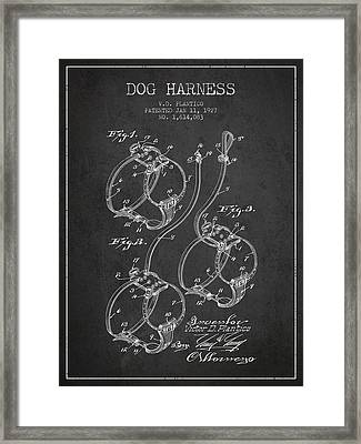 1927 Dog Harness Patent - Charcoal Framed Print by Aged Pixel