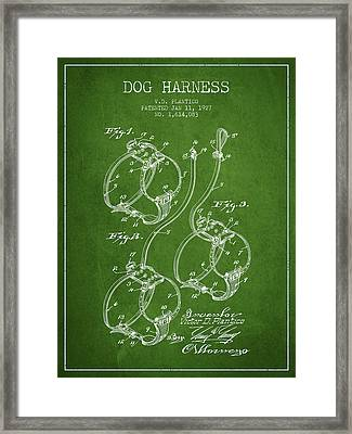 1927 Dog Harness Patent - Green Framed Print by Aged Pixel