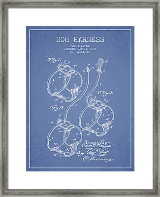 1927 Dog Harness Patent - Light Blue Framed Print by Aged Pixel