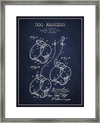 1927 Dog Harness Patent - Navy Blue Framed Print by Aged Pixel