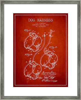 1927 Dog Harness Patent - Red Framed Print by Aged Pixel