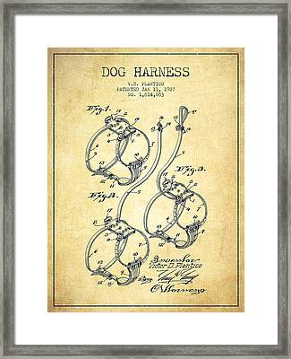1927 Dog Harness Patent - Vintage Framed Print by Aged Pixel