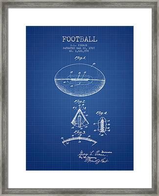 1927 Football Patent - Blueprint Framed Print