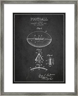 1927 Football Patent - Charcoal Framed Print by Aged Pixel
