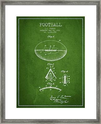 1927 Football Patent - Green Framed Print by Aged Pixel