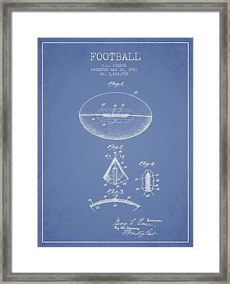 1927 Football Patent - Light Blue Framed Print