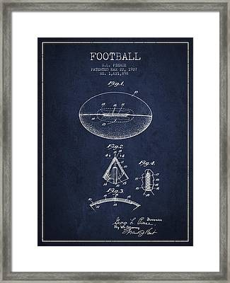 1927 Football Patent - Navy Blue Framed Print by Aged Pixel