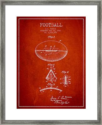 1927 Football Patent - Red Framed Print by Aged Pixel