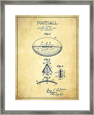 1927 Football Patent - Vintage Framed Print by Aged Pixel