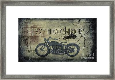 1927 Henderson Vintage Motorcycle Framed Print by Cinema Photography