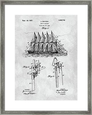 1927 Sailing Ship Patent Charcoal Framed Print