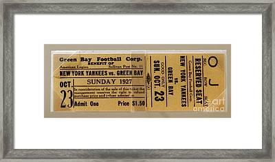 1927 Yankees Vs. Packers Ticket Stub Framed Print