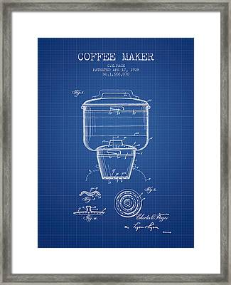 1928 Coffee Maker Patent - Blueprint Framed Print by Aged Pixel