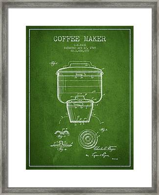 1928 Coffee Maker Patent - Green Framed Print