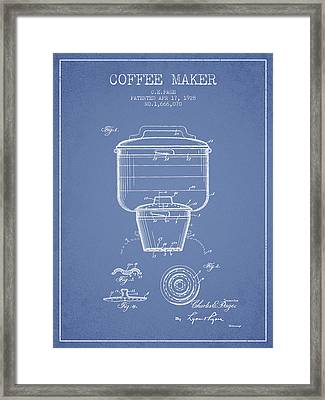 1928 Coffee Maker Patent - Light Blue Framed Print