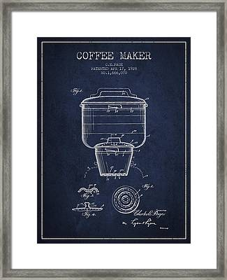 1928 Coffee Maker Patent - Navy Blue Framed Print by Aged Pixel