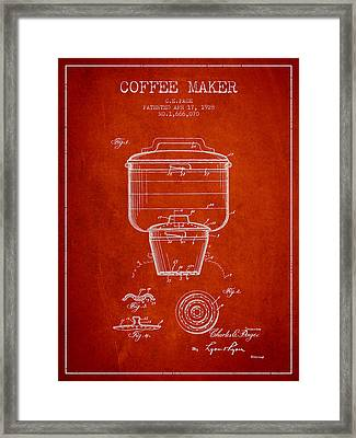 1928 Coffee Maker Patent - Red Framed Print