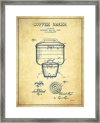 1928 Coffee Maker Patent - Vintage Framed Print