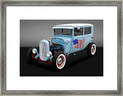 1928 Ford Model A Tudor Sedan  -  1928fd2drsedgry170289 Framed Print
