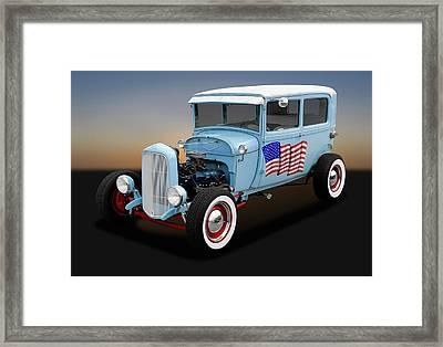 1928 Ford Model A Tudor Sedan  -  1928ford2doorsedan170289 Framed Print
