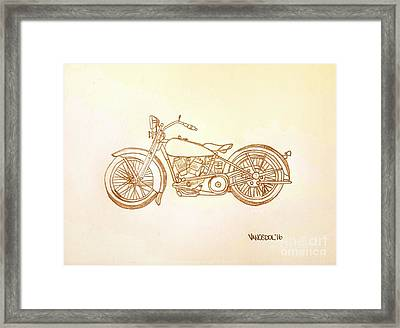 1928 Harley Davidson Motorcycle Graphite Pencil - Sepia Framed Print